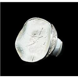 Round Medallion Ring - Rhodium Plated