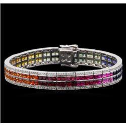 14.45 ctw Multi Color Sapphire and Diamond Bracelet - 14KT White Gold
