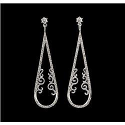 0.77 ctw Diamond Earrings - 14KT White Gold