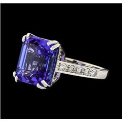 GIA Cert 10.16 ctw Tanzanite and Diamond Ring - 14KT White Gold