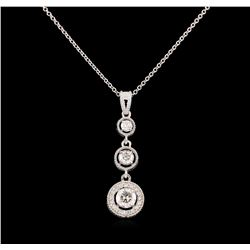0.93 ctw Diamond Pendant With Chain - 14KT White Gold