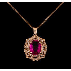 14KT Rose Gold 2.25 ctw Tourmaline and Diamond Pendant With Chain