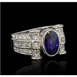 3.29 ctw Sapphire and Diamond Ring - 18KT White Gold