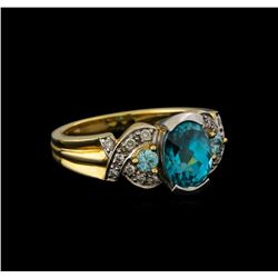 4.19 ctw Blue Zircon and Diamond Ring - 14KT Yellow Gold