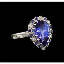 14KT White Gold 3.86 ctw Tanzanite, Sapphire and Diamond Ring
