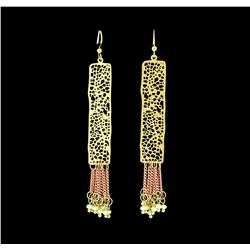 Filigree Tassel Drop Earrings - Gold Plated