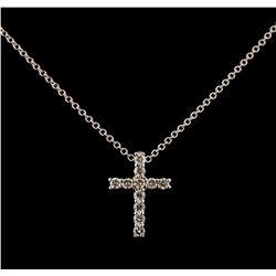 0.35 ctw Diamond Cross Pendant With Chain - 14KT White Gold