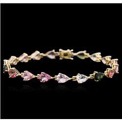14KT Yellow Gold 10.61 ctw Multicolor Tourmaline Bracelet