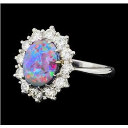 1.28 ctw Opal And Diamond Ring - 18KT White Gold
