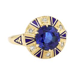 2.80 ctw Sapphire And Diamond Ring - 14KT Yellow Gold