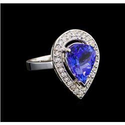 14KT White Gold 4.18 ctw Tanzanite and Diamond Ring