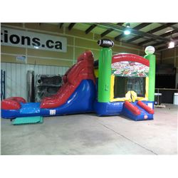 SPORTS COMBO WET AND DRY INFLATABLE ADVENTURE PLAYGROUND  28' L X 13'W X 14' HEIGHT (WEIGHS 286