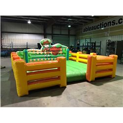 ELECTRIC BUCKING BULL RIDE, CONTROL CONSOLE, INFLATABLE SAFETY BULL PEN MATT SIZE 16'  X 16' X 7'