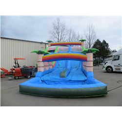 INFLATABLE PALM TREE THEME WITH  DUAL SLIDES AND POOL(MEASURES 24' X 50'L X 22'H) COMPLETE WITH 1
