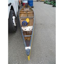 17' YELLOW CLIPPER 2 MAN CANOE (MODEL TRIPPER) MADE IN B.C. COMPLETE WITH PADDLE