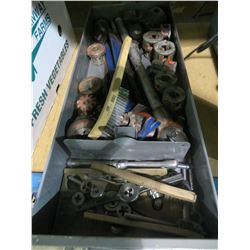 TRAY OF PIPE THREADING TOOLS