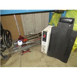 DELONGHI RADIATOR STYLE HEATER/MECHANICS CREEPER/DYSON VAC/FLOOR JACK/MISC CONTENTS