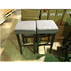 """PAIR OF GREY BAR STOOLS  APPROX 28"""" IN HEIGHT"""
