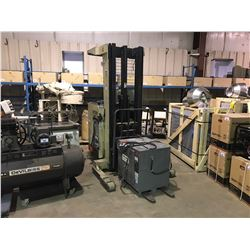 CROWN 3500LB 3 STAGE WITH SIDE SHIFT DOCK TRUCK WITH CHARGER AND HOBART 250C2 BATTERY CHARGER
