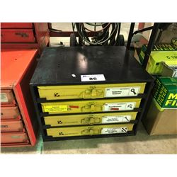 KAR PRODUCTS 4 DRAWER HARDWARE ORGANIZER WITH TERMINAL CONNECTORS AND MACHINE SCREWS