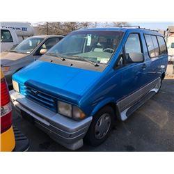 1996 FORD AEROSTAR SPORT, BLUE, GAS, AUTOMATIC, VIN#1FMDA11U6TZA34770, 304,536LMS, AC, CR, REAR ABS