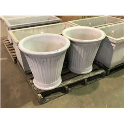 """PAIR OF LARGE 24"""" GARDENSTONE FLUTED FLOWER POTS"""
