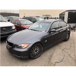 2007 BMW 328I, GREY 4 DOOR SEDAN, GAS, AUTOMATIC, VIN#WBAVA33557PV66830, 180,445KMS,