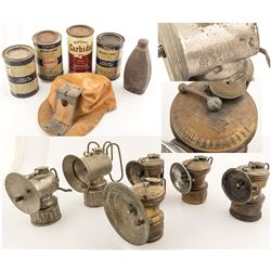 6 Carbide Lamps, 5 Carbide Tins and a Miner's Cap