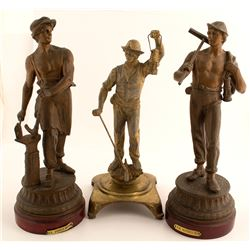 3 Miner and Metal Forger Statues