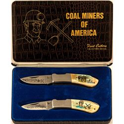 2 Beautiful Folding Coal Miners Knives