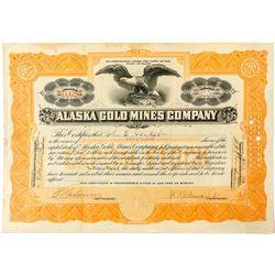Alaska Gold Mines Company Stock Certificate