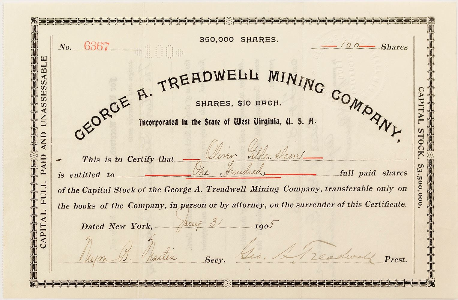 George A  Treadwell Mining Company Stock Certificate