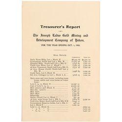 Treasurer's Report of The Joseph Gold Mining Development Co. of Yukon 1902