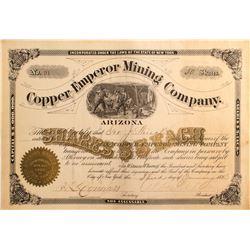 Copper Emperor Mining Co. Arizona Stock, Mineral Hill, Pima County 1883