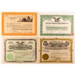 Four Different Oatman, AZ Mining Stock Certificates