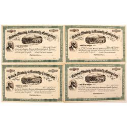 Four Salero Mining & Manufacturing Co. Stock Certificates, Henry Wells Vignette
