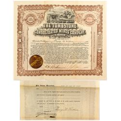 The Tombstone Consolidated Mines Company Certificate signed by E.B. Gage
