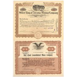 Two Arizona Mining Stock Certificates from Famous Mineral Locations