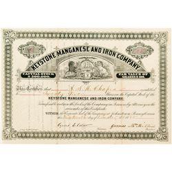 Keystone Manganese and Iron Company Stock Certificate