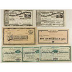 Seven Calaveras County Mining Stock Certificates