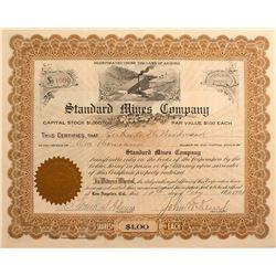 Standard Mines Co. Stock Certificate, Cima, Cal 1908