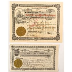 Death Valley Mining Stock Certificates