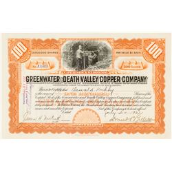 Greenwater & Death Valley Copper Co. Stock, Inyo 1907