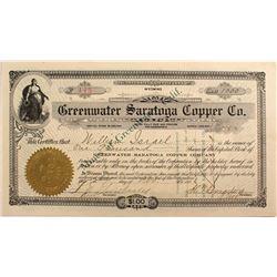 Greenwater Saratoga Copper Co. Stock, Death Valley 1906