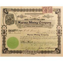 Karma Mining Co. Stock Certificate, Mojave, Cal. 1901