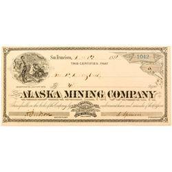 Alaska Mining Company Stock Certificate, Pike CIty, Sierra County