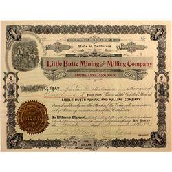 Little Butte Mining & Milling Co. Stock Cert.- Randsburg, Cal. 1897
