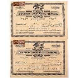 Demarest Gold Mining Company Stock Certificates