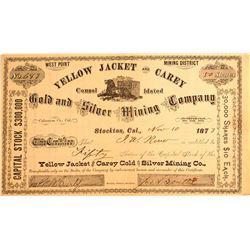 Yellow Jacket & Carey Gold & Silver Mining Co. Stock, Calaveras 1873