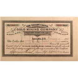 Willow Creek Gold Mining Co. Stock, Yuba County, Cal. 1882